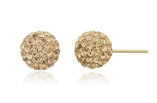 14k Yellow Gold with Amber 6mm Preciosa Crystals Stud Earrings