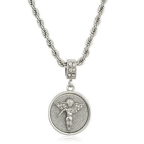 Silvertone Sandblast Angel Micro Pendant with Clear Stones and a 24 Inch Rope Necklace