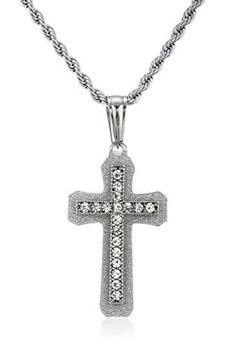 Stainless Steel Silvertone Iced Out Sandblast Cross Pendant with 24 Inch Rope Chain