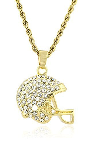 Men's Football Helmet Micro Pendant Necklace with 24.5 Inch Rope Chain - Available in Goldtone or Silvertone