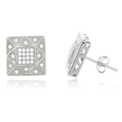Sterling Silver Stud Earrings with Clear Cz Stones 15 Mm Hollow Style Boxed