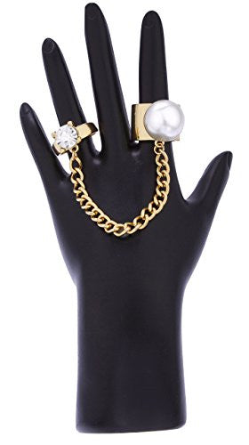 Goldtone Simulated Pearl Ring Finger Ring