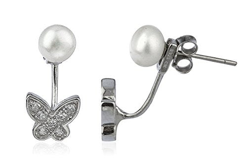 925 Sterling Silver Simulated Pearl with...