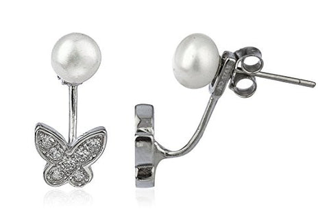925 Sterling Silver Simulated Pearl with Cz Butterfly Stud Earrings