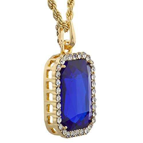 Goldtone Large Blue Square Pendant with...