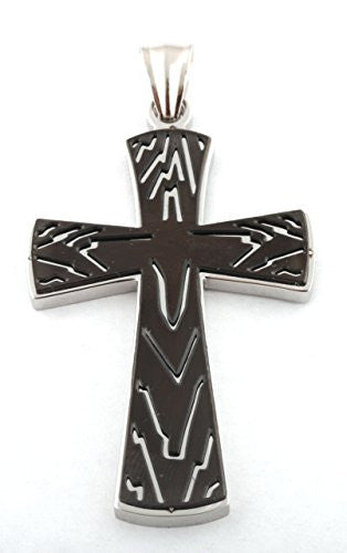 Silver with Black Ripples Cross Stainless Steel Pendant