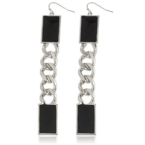 Silvertone Plate with Black Cuban Style Drop Earrings