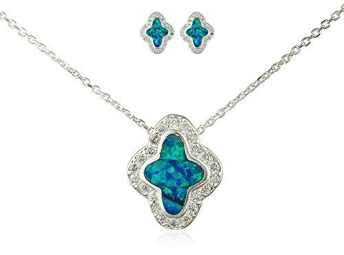 925 Sterling Silver Turquoise Created Opal Twinkle Star Necklace with Matching Stud Earrings Jewelry Set
