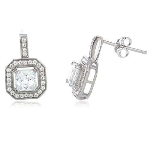 Sterling Silver Stud Earrings with Cz 10mm