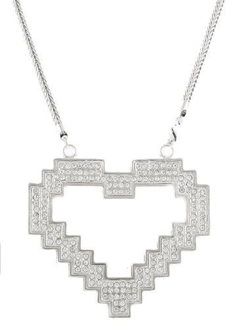 Large Silvertone Heart Pendant with a 36 Inch Franco Chain Necklace