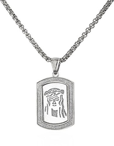 Stainless Steel Jesus Piece Sandblast Dog Tag with a 24 Inch Round Box Chain (Silvertone)
