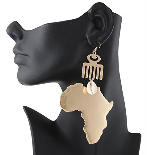 Goldtone Map of Africa with Adinkra...