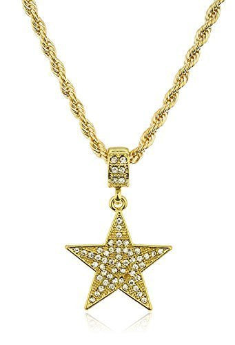 Iced Out Star Micro Pendant with a 24 Inch 4mm Rope Necklace Chain