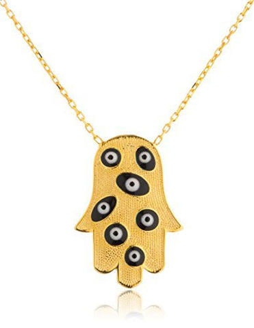 925 Sterling Silver Hamsa Hand with Evil Eyes Adjustable 16 Inch Necklace