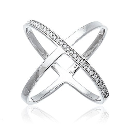 "925 Sterling Silver Bold Criss Cross ""X"" Ring with Stones"