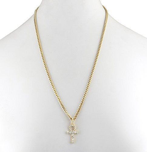 Goldtone Ankh Cross Micro Pendant with...