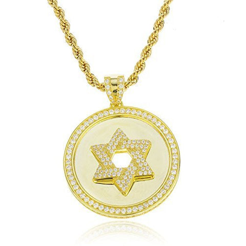 925 Sterling Goldtone Circular Star Of David Pendant with Cubic Zirconia Stones and a 24 Inch Brass 3mm Rope Necklace
