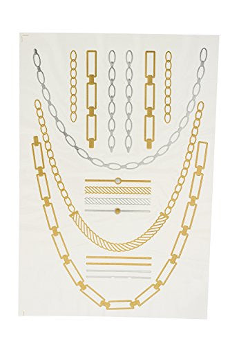 Metallic Tattoos in Gold and Silver - Pack of Four Assorted Styles Bracelets, Necklaces, and Popular Symbols