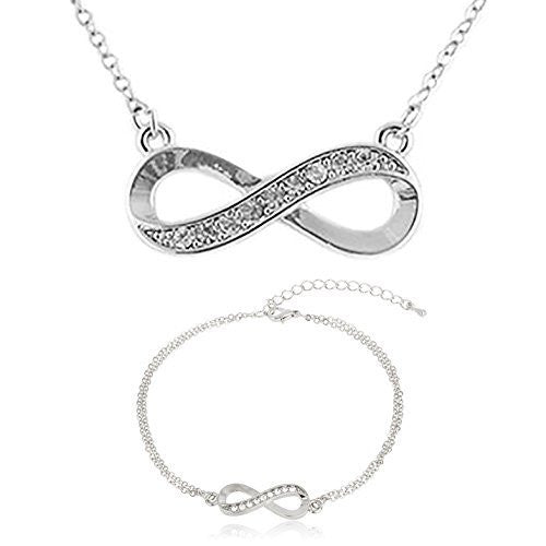 Silver with Clear Infinity Charm Necklace...