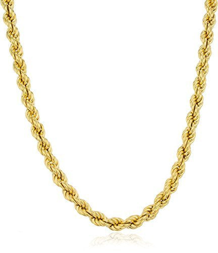 Goldtone 8mm Brass Rope Chain Necklace...