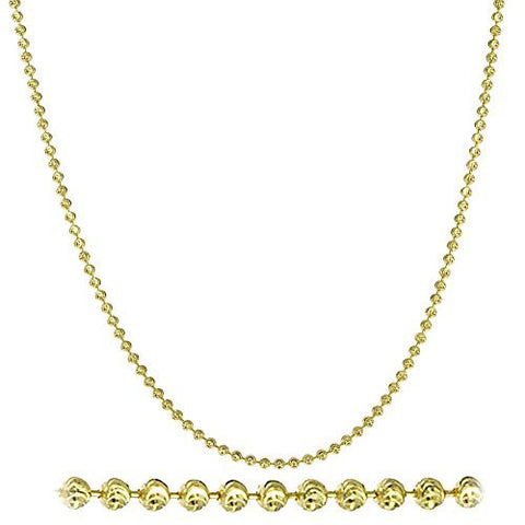 925 Sterling Silver Goldcolored 2mm Moon Cut Ball Chain (16-32 Inches)