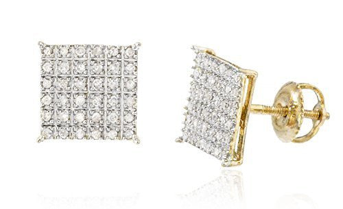10k Yellow Gold 1/4 Cttw Diamond Square Screw Back Stud Earrings