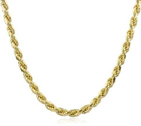 925 Sterling Silver Goldtone 6.5mm 30 Inch Solid Rope Chain