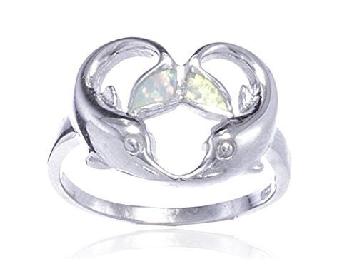 Sterling Silver Ring Created Opal Multicolor Dolphin Heart Design (7)