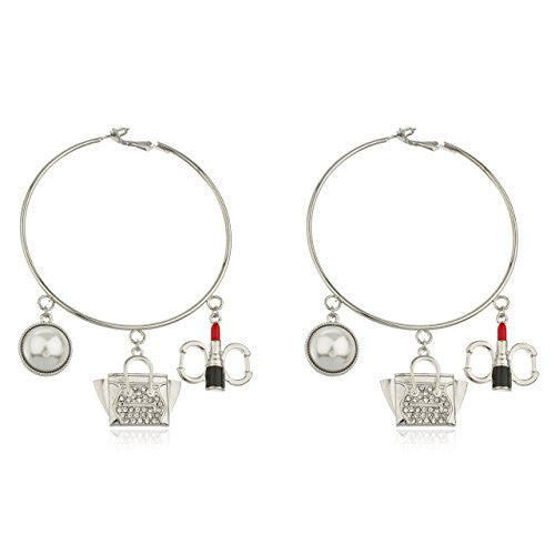Silvertone Thin 3 Inch Hoop Earrings...