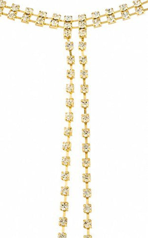 Ladies Iced Out Choker Necklace with Long Dangling Iced Out Strands (Goldtone or Silvertone)