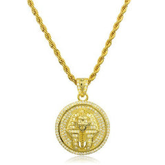 925 Sterling Silver Goldtone Pharoah Micro Pendant with Clear Cz Stones and a 3mm Brass Rope Necklace (24 inches)