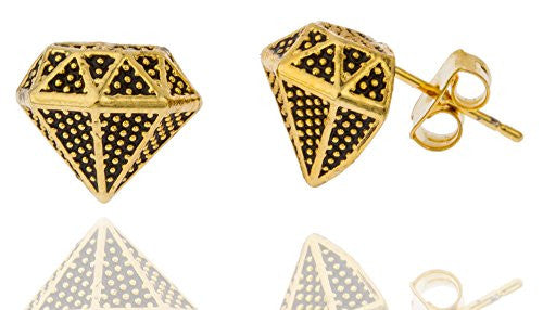 Goldtone with Black .25 Inch Diamond-Shaped Stud Earrings