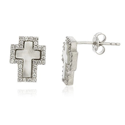 925 Sterling Silver Created Opal White Cross Stud Earrings with Cz Stones