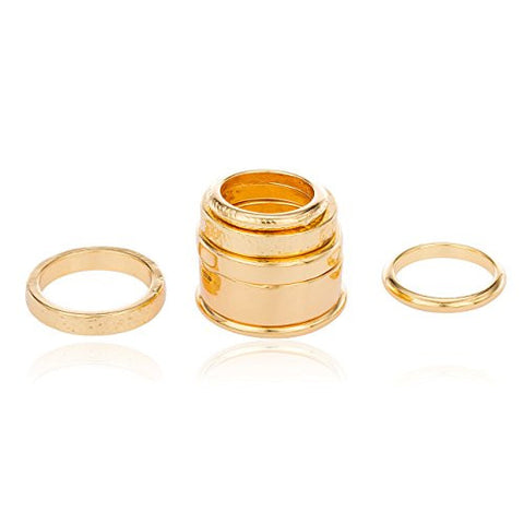Goldtone Multi Stacked Midi & Finger Ring Set