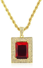 Goldtone Red Square Stone Pendant with a 30 Inch Rope Chain Necklace