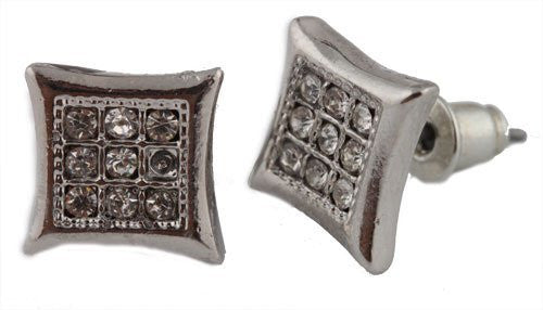 Men's Silvertone with Clear Iced Out Curved Square Style with 9 Stones Stud Earrings