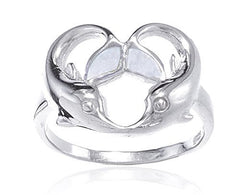 925 Sterling Silver Created Opal White Dolphin Heart Design Ring (9)