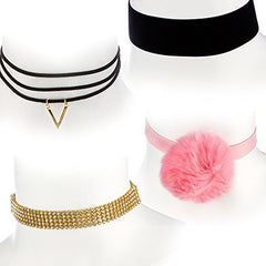 The Ultimate Collection Set of Four Choker Set (Pink w/ Faux Pom Pom ,Thick Black Velvet, Layered w Chevron Pendant,Stone Choker)