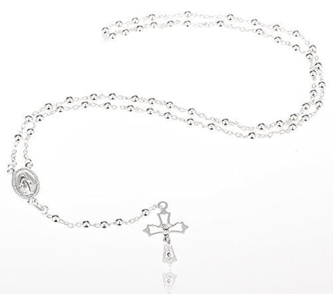 Real 925 Sterling Silver 4mm 24 Inch Beaded Rosary Necklace with Dangling Cross