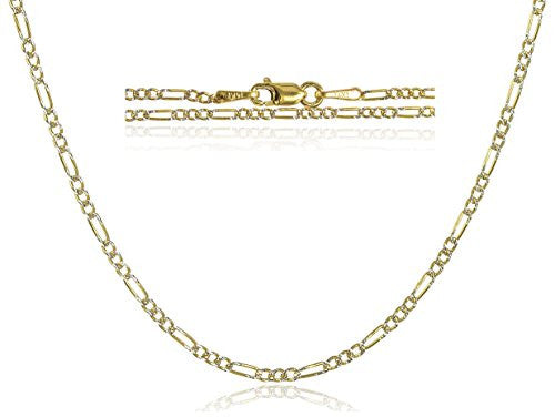 "14K Gold 1.5mm Figaro Pave Chain - 16"" 18"" & 20"" Available (20 Inches)"