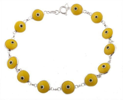 2 Pieces of Yellow Real 925 Sterling Silver 7 Inch Evil Eye Bracelet