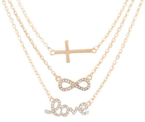 Goldtone with Clear Iced Out Cross, Infinity & Love Pendant Three Adjustable Link Chain Necklace