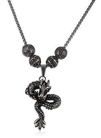 Stainless Steel Silvertone Dragon Pendant with a 24 Inch Box Chain