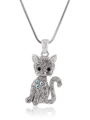 Silvertone Iced Out Cat with Heart Pendant with a 16 Inch Adjustable Snake Franco Chain Necklace
