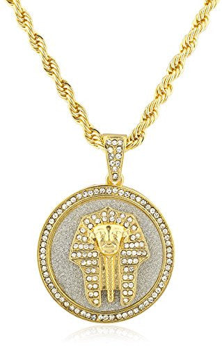Goldtone Iced Out Round Pharaoh Pendant with a 30 Inch Rope Chain Necklace