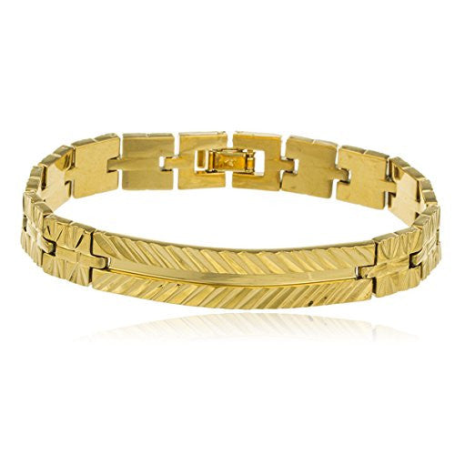 Two Year Warranty Gold Overlay 7.5 Inch Embedded Design Link ID Bar Bracelet
