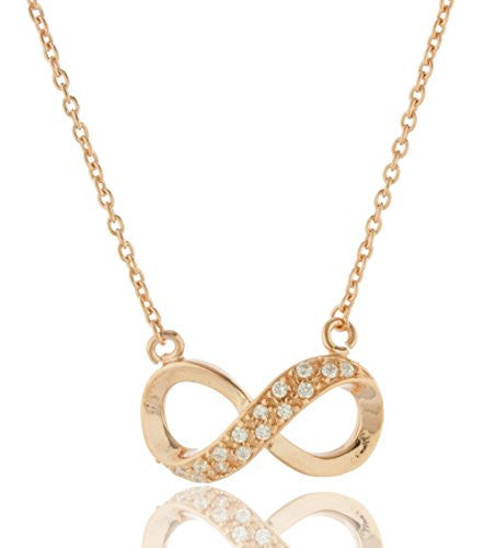 925 Sterling Silver Rose Goldtone Cubic Zirconia Large Half Infinity Pendant with an 18 Inch Adjustable Link Chain Necklace