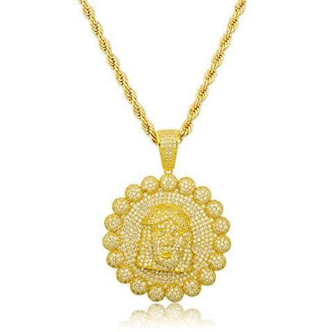 925 Gold Plated Sterling Silver Jesus Piece Bordered Pendant with Cz Stones and a 30 Inch Brass Rope Necklace