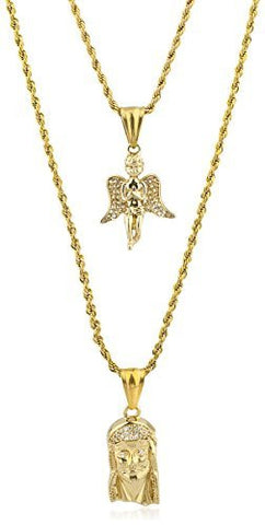Stainless Steel Goldtone Layered Micro Angel & Jesus Pendant Rope Necklace