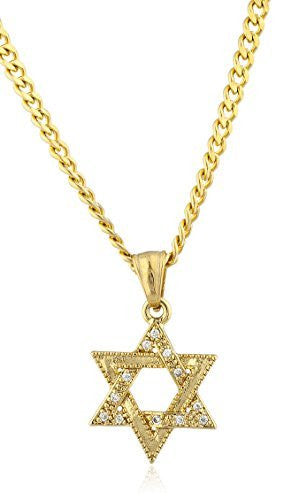 Stainless Steel Goldtone Small Star of David Pendant with 24 Inch Cuban Chain